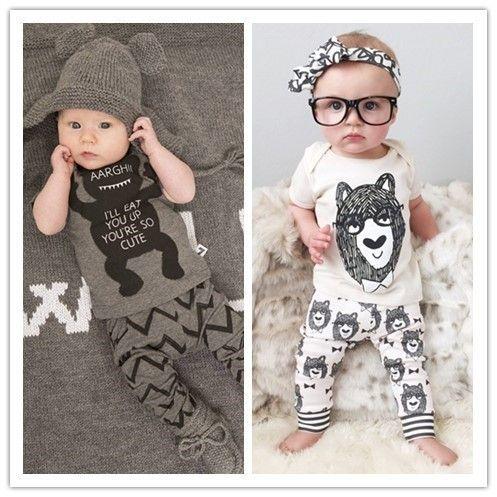 Hot Europe Kids Infant Хлопчатобумажная одежда для одежды Детские мальчики Девочки с коротким рукавом мультфильм футболка + волновые штаны 2шт наряды 10741