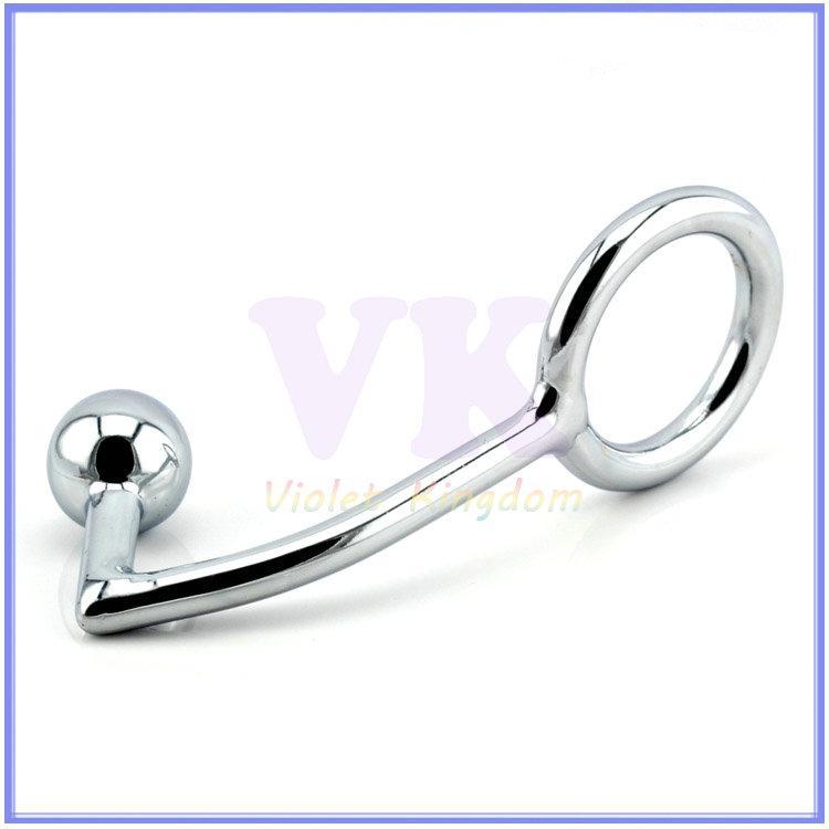 Crochet anal en métal avec un grand anneau de pénis pour plug anal mâle en acier plug anal en acier adulte produits de sexe 160mmX45mmX25mm