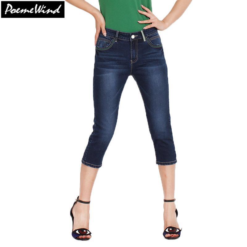 4973e1491 Compre Atacado PoemeWind Ladies 3 4 Jeans Cropped Denim Calças Capri  Bottoms Capri Calças De Verão Calças Para As Mulheres Capris Plus Size 28  38 40 De ...