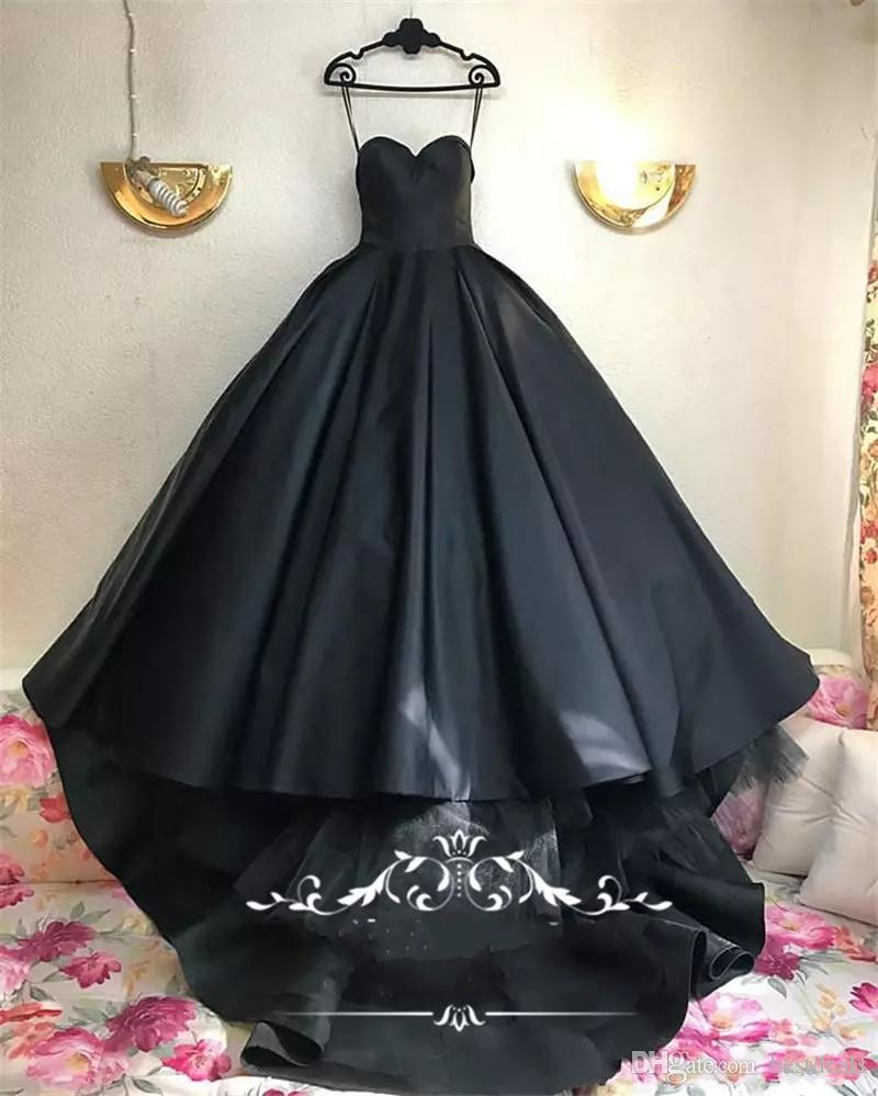 Gothic Black Design Ball Gown Wedding Dresses 2018 Plus Size Sweetheart Matt Satin Tulle Arabic Dubai Country Bridal Gowns Vestido De Novia