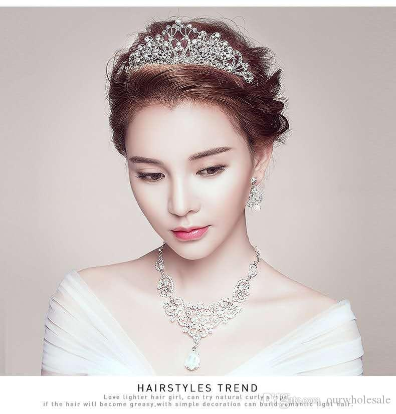 Hot style bride swan crown hairband for necklace earrings for wed headpiece with three sets of Korean wedding accessories
