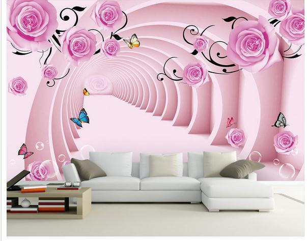 Customize wallpaper papel de parede full house rose living for Wallpaper on house walls