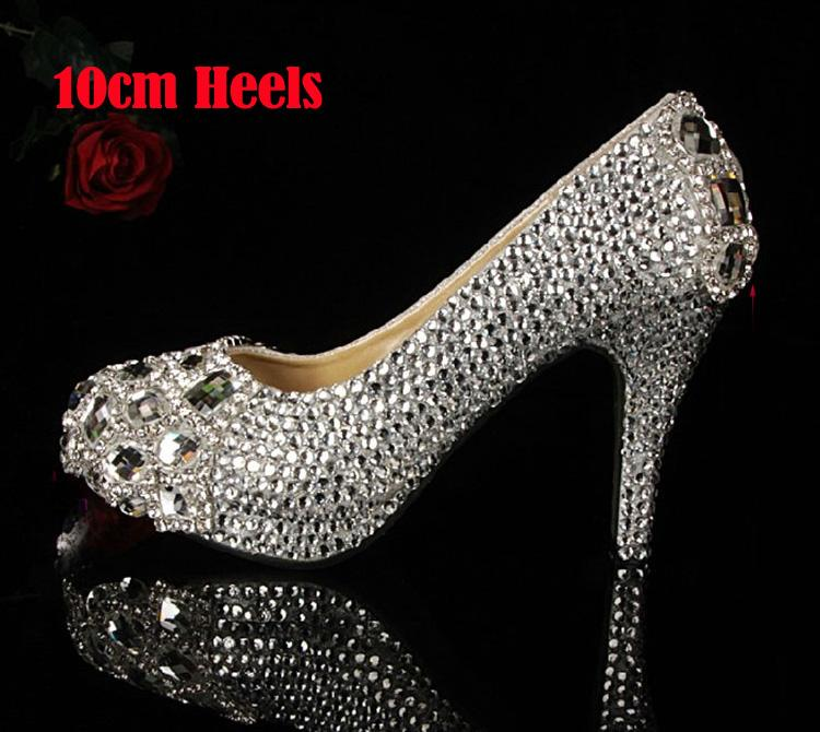 Silver Custom Make plus size high heel crystals and rhinestones bridal wedding Pumps shoes Diamond Lady Shoes Party Prom High Heels