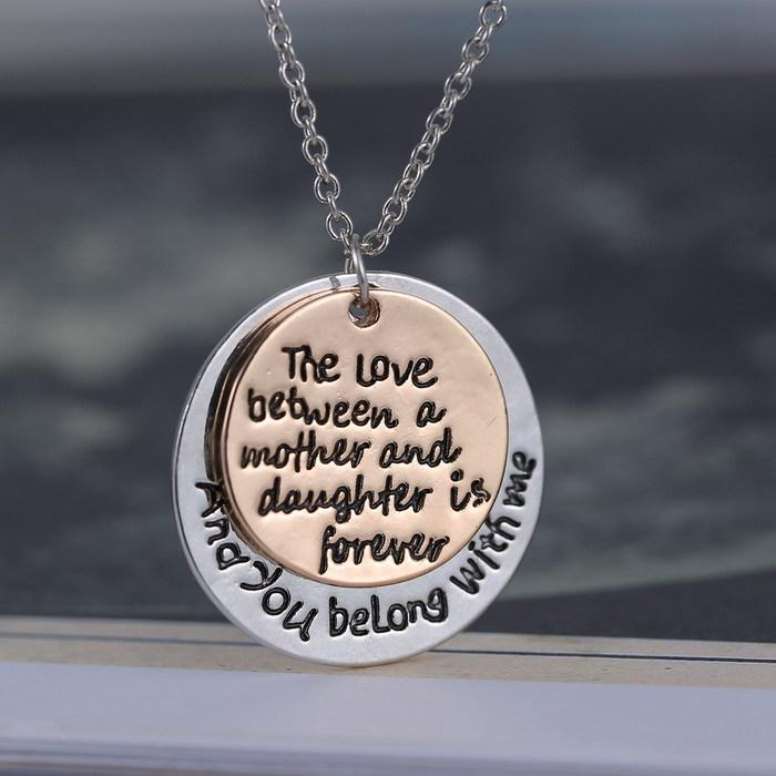 Wholesale two tone rose gold silver plated letters pendant wholesale two tone rose gold silver plated letters pendant necklaces for women two round plated necklace pendant cheap pendant necklaces pendants necklaces mozeypictures Gallery
