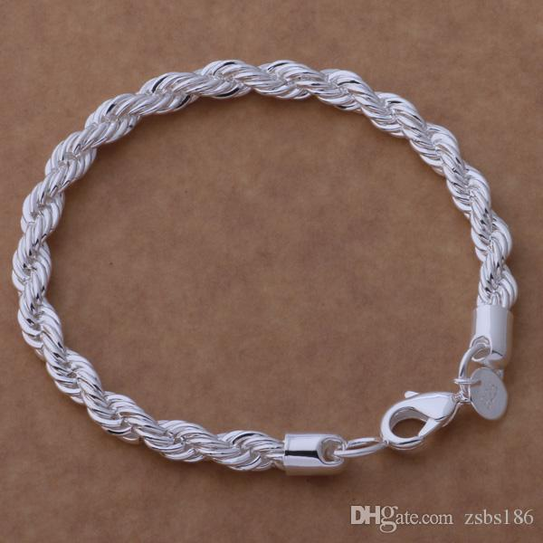 Fashion Men's Jewelry Plated 925 sterling silver twisted rope chain necklace 6MMX20CM Top quality factory price