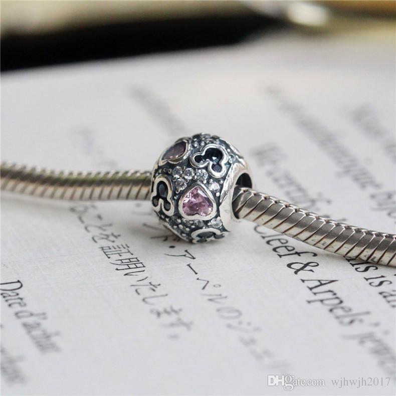 Nova Espumante Mic-chave Corações Charme Beads Serve Para Pandora Pulseiras Authentic 925 Sterling Silver Red Black Pave Cristal Charme Jóias DIY HB266