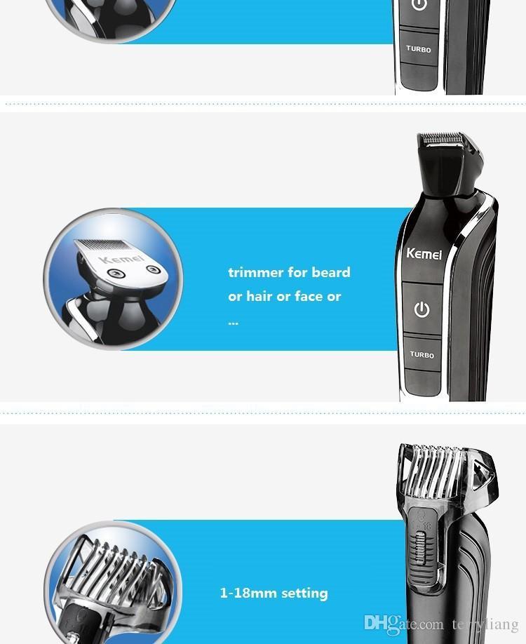 De calidad superior Kemei hombre eléctrico a prueba de agua kit de aseo Maquinilla de afeitar trímero barba recortador para nariz de corte recargable herramienta de corte de pelo