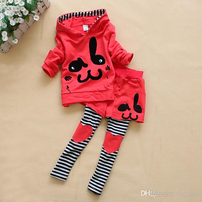 girls spring autumn clothes cute girl outfit rabbit printed jumper+legging set for baby girls kids suit