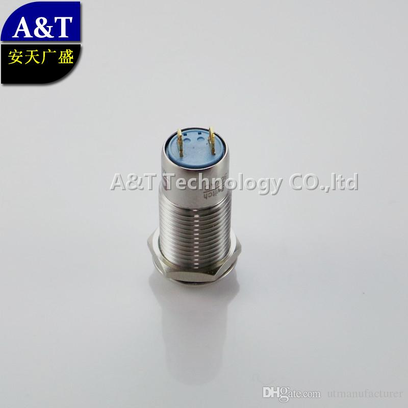 Auto electrical 12mm on off miniature metal stainless steel waterproof IP67 anti vandal latching 12v led illuminated push button switch