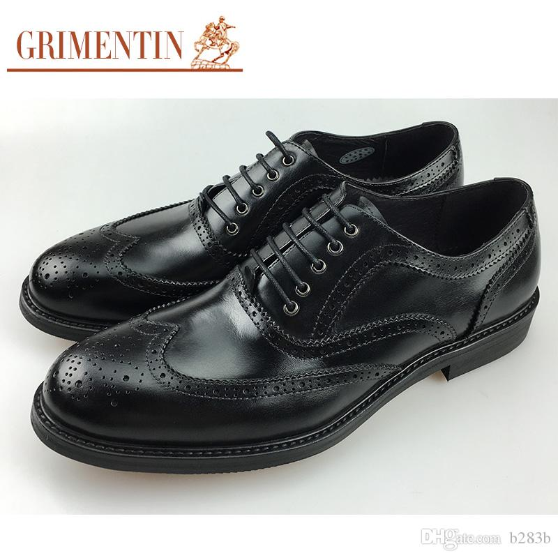 f5b3e405ed95f GRIMENTIN Brand UK Vintage Mens Dress Shoes Genuine Leather Comfortable  Wingtip Carved Oxford Shoes Men For Business 2018 Size 38 44 2 F2 Clogs For  Women ...