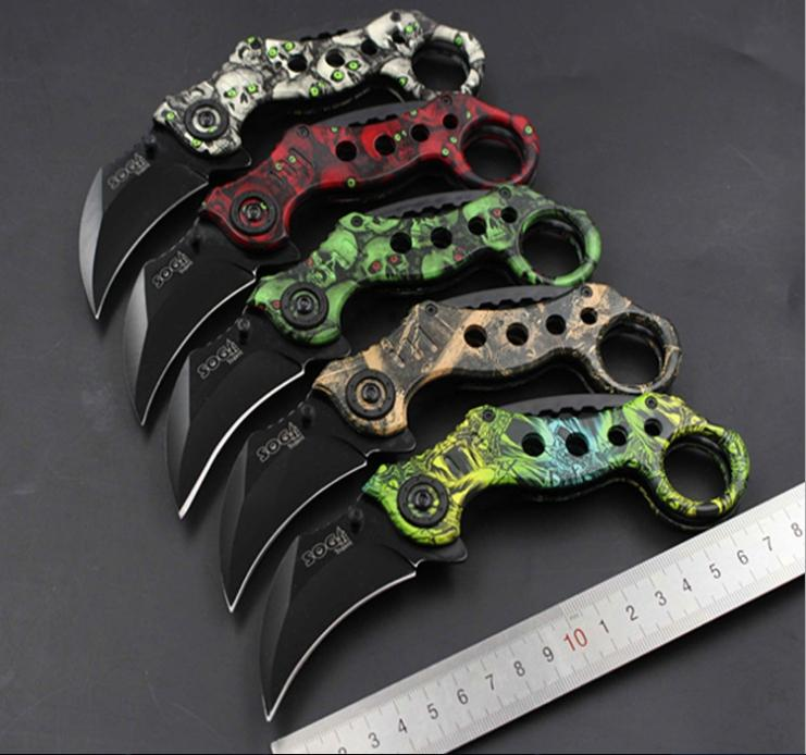 CS GO SOG Claw Karambit Folding knife 440C Steel Outdoor gear EDC Pocket Tool fast open hunting Tactical Knives Scorpion sharp claw
