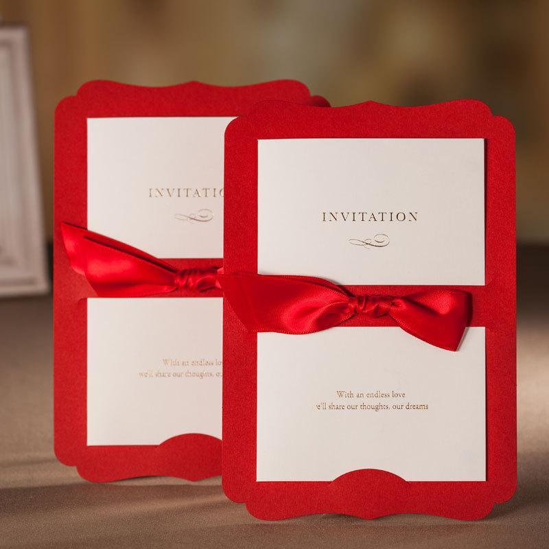 elegant wedding invitation card ribbon bow pocket, free, Wedding invitations