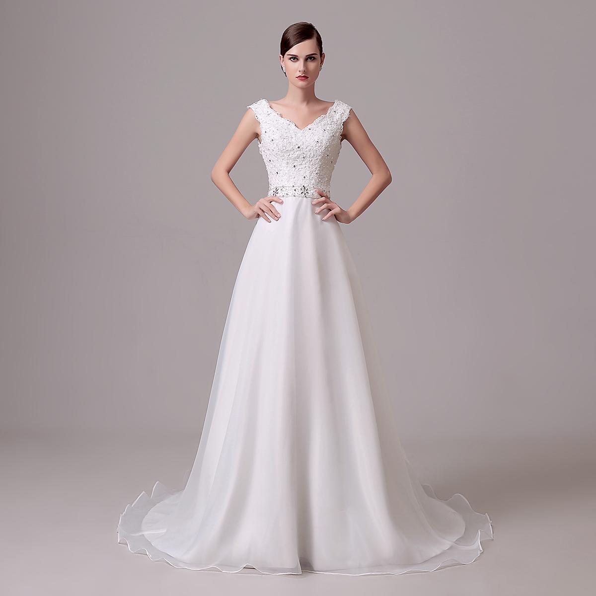 Perlen-Kristallhochzeits-Kleid-Spitze 2018 eine Linie Schößchen-Bogen auf Lager hergestellt in China Elegante weiße Brautkleider 2018 vestido de Novia