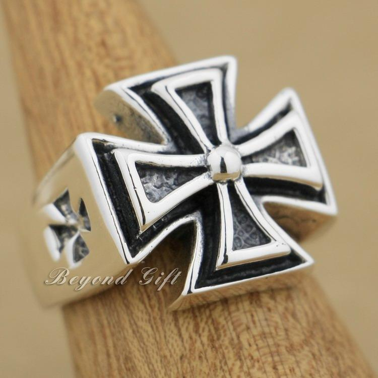 Huge Heavy 925 Sterling Silver Cross Mens Biker Rocker Ring 9Q012 US Size 8~14