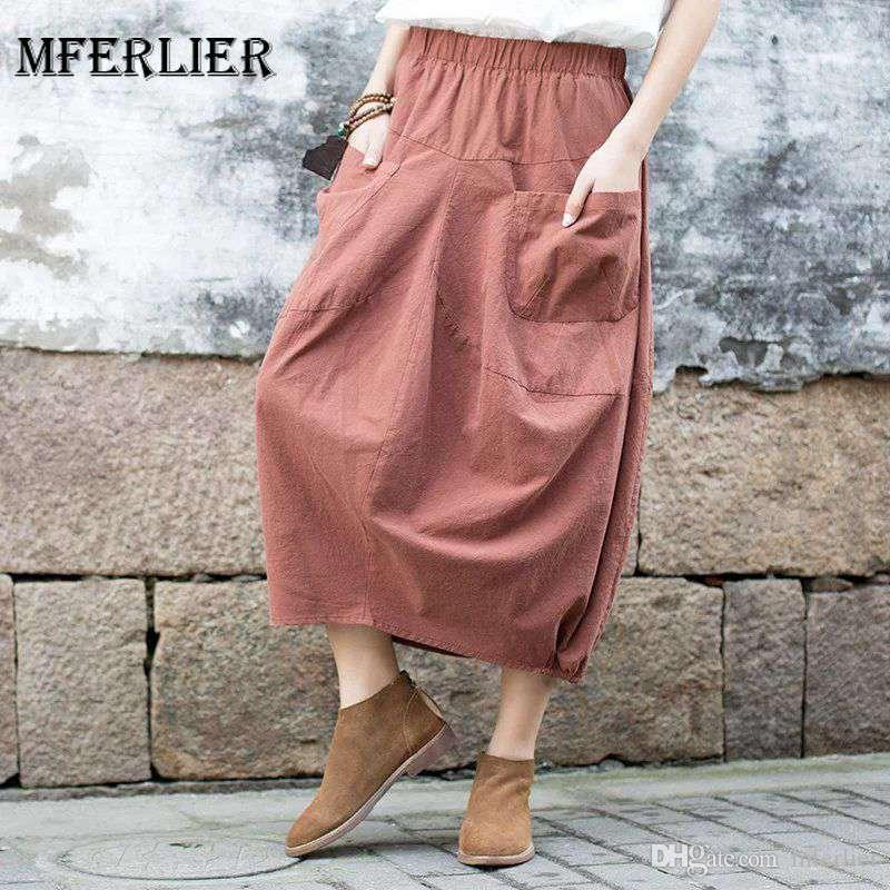 66fb349c25 Mferlier Mori Girl Autumn Artsy A Line Skirt Solid Elastic Waist Loose  Casual Red Black Pink Cotton Linen Women Skirt