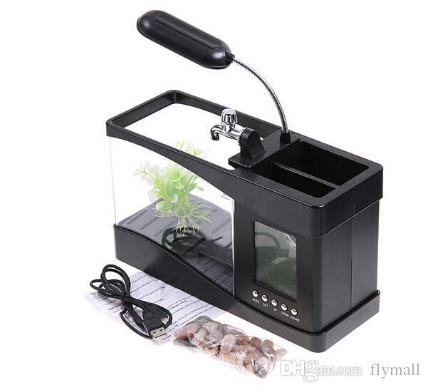 1 takım Mini USB LCD Masaüstü Siyah Balık Tankı Akvaryum Saat Zamanlayıcı Takvim LED Işık Mini USB LCD Masaüstü Zamanlayıcı Takvim Saat LED Lamba Işık