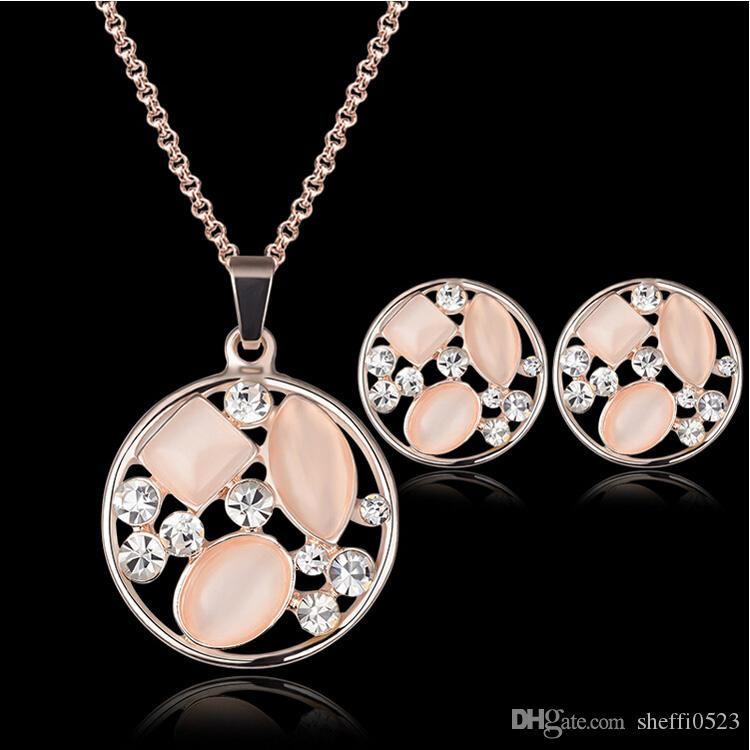 Opal Necklace Earrings Jewelry Sets Fashion Austria Crystal 18K Gold Plated Bride Jewelry Set For Women Best Gift CAL21065B