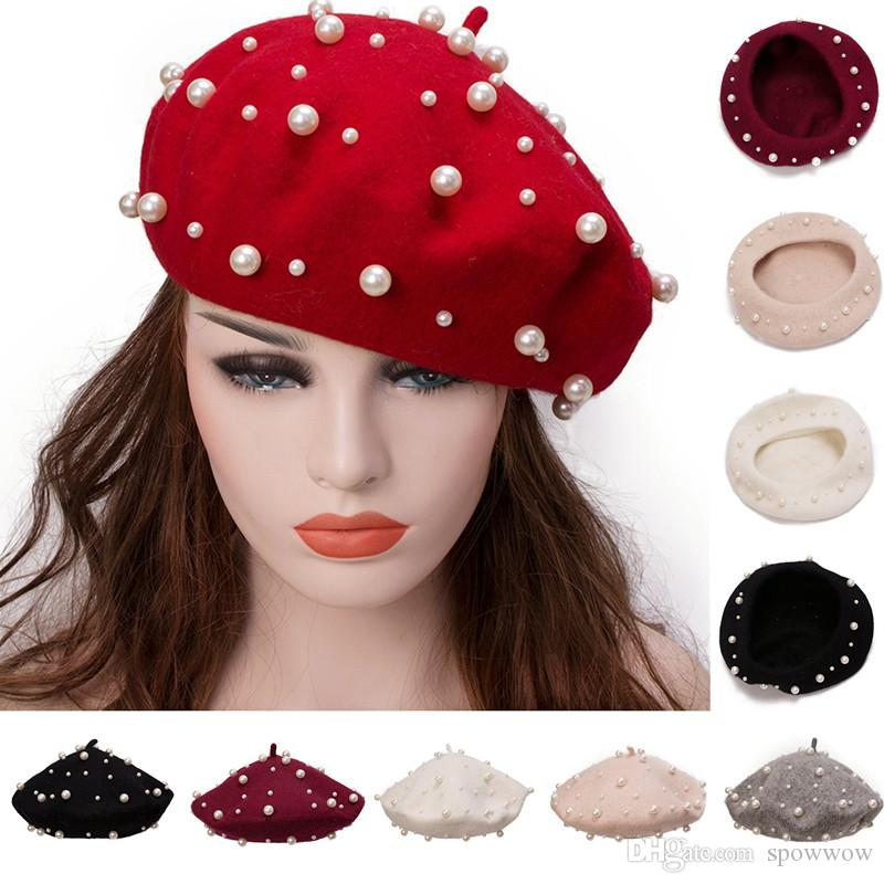 2019 Womens Classic Winter Woolen Knitted Hats Baggy Caps Fashion Sweet  Pearl French Artist Beret Cap Y91 From Spowwow 0c924fa5d74