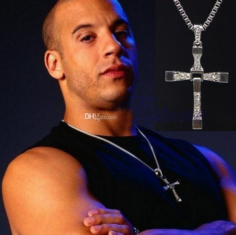 2016 hot sale Fast and the Furious Celebrity Dominic Toretto 18K plated Gold Rhinestone Crystal Jesus Cross Pendant Necklaces
