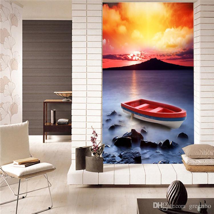 Großhandel Boot Im Sonnenuntergang Fototapete Schöne Landschaft Tapete  Tapete Raum Hintergrund Wand MURALS Schlafzimmer Kinderzimmer Dekor 192cy  192a ...