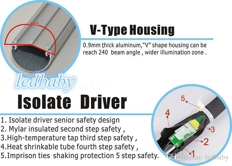 Cooler Led Tube T8 Rotating R17D Led Light Tubes V-Shaped 5FT 1500mm 36W Dual Rows SMD 2835 Led Fluorescent Lamp AC 85-277V