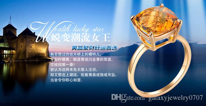 2015 New Trendy Luxury Big 3.5ct Champagne Swiss CZ Diamond Wedding Rings for Women 14K Rose Gold Plated Fashion Jewelry Ring ZR19