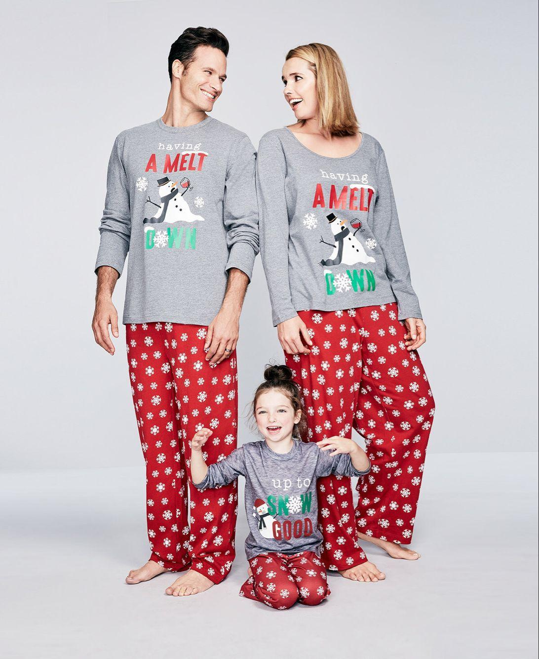 16c99bb11ca9 Family Matching Christmas Pajamas Set Up To Snow Goodandhaving A Melt  DownTops And Long Pants Sleepwear For Family Matching Shirts For Family  Family ...