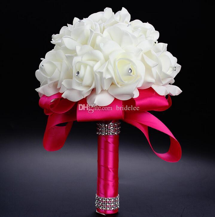 2018 elegante rosa flores nupciales artificiales ramo de novia ramo de boda de cristal azul real cinta de seda nuevo Buque De Noiva es