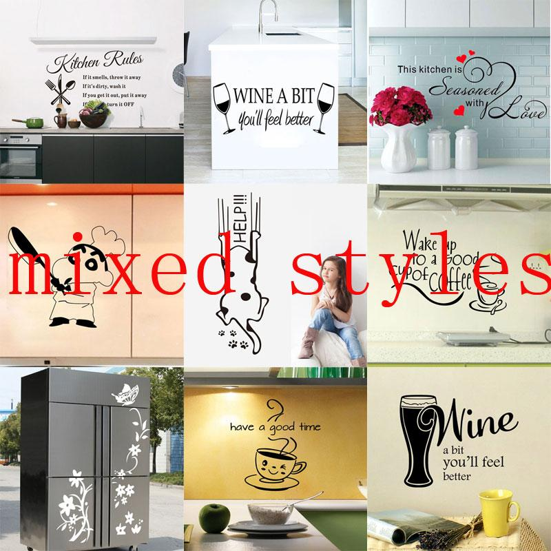 Kitchen Utensils Wallpaper 12 styles mixed kitchen utensils butterfly letter flower removable