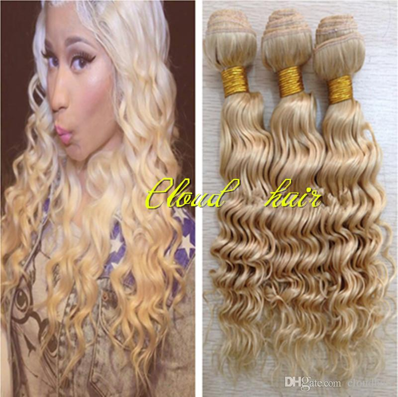 Russian Virgin Human Hair Deep Wave Curly Wavy Bleached Blonde Pure