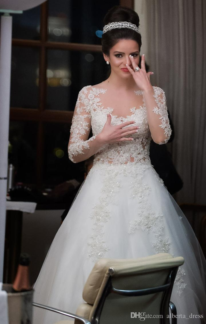 Romatic Sparkly Wedding Dresses 2015 Lace Appliques Long Sleeves A Line With Beads Button Back Formal Bridal Gowns Vestido de Noiva 2016 new