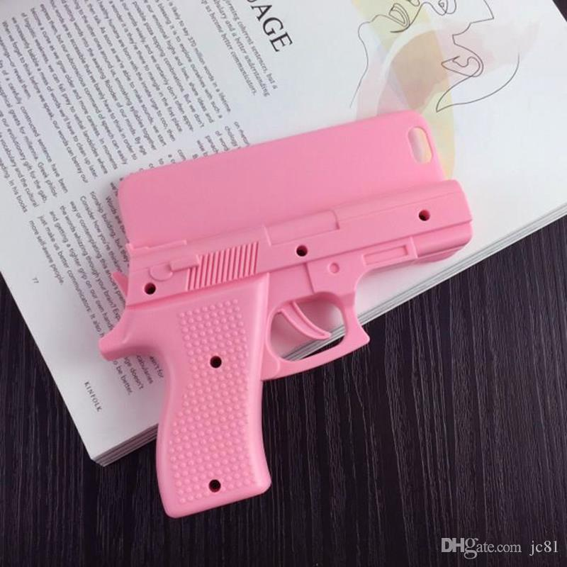 3D Toy Handgun Cool SmartPhone Case for iPhone4 4s 5 5s se 6 6Plus 7 7plus Pistol Hard PC Cover