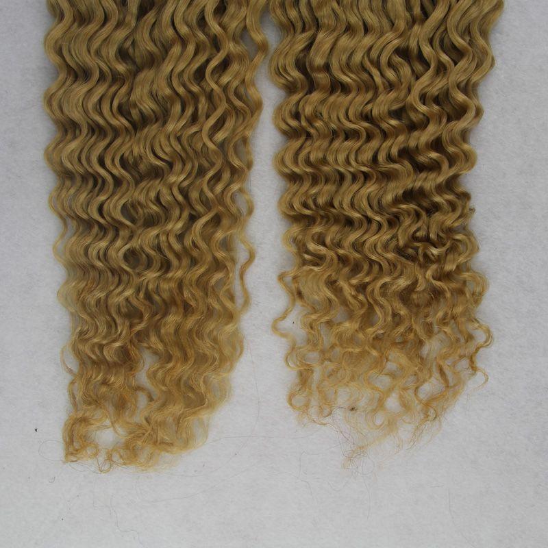 200g 8a blonde kinky curly Unprocessed Brazilian peruvian indian Virgin Human Hair Wholesale Wet And Wavy Brazilian Hair Weave Bundles