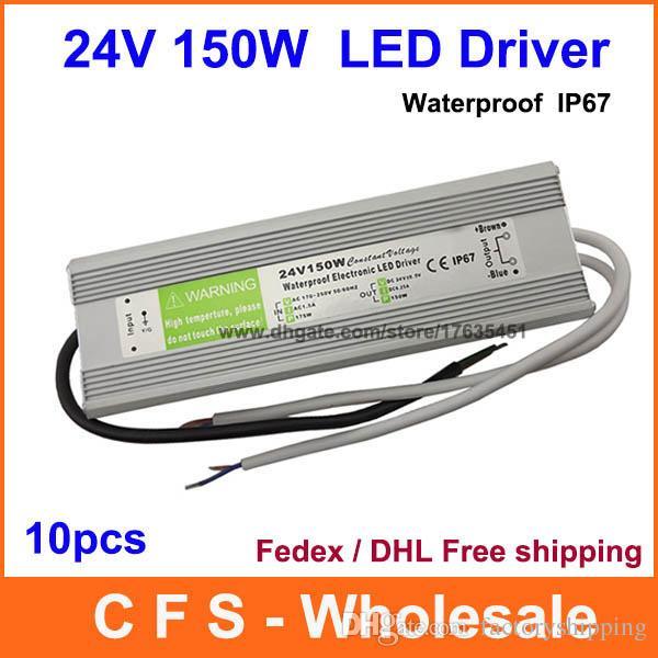 10pcs DC 24V 150W 6 25A Waterproof Electronic LED Driver 150W Power Supply  Transformer Mains Fedex / DHL Free shipping