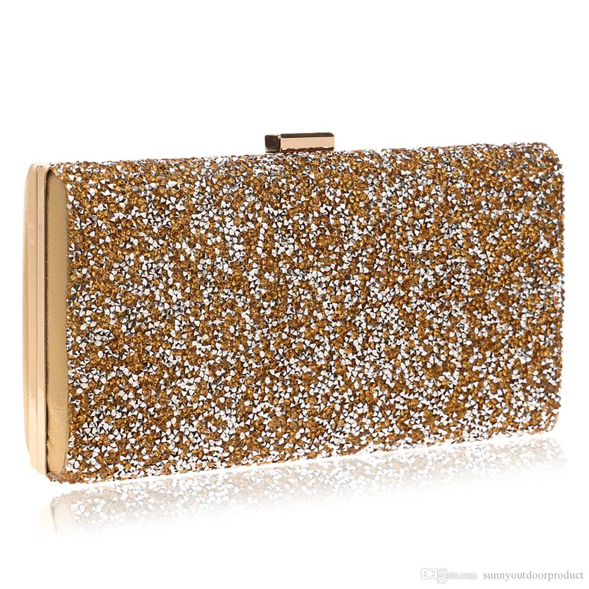eb5509750d610 2017 New Fashion Woman Evening Bag Lady Diamond Rhinestone Clutch Bag  Crystal Wallet Purse For Wedding With Chain Classic Sparkling Handbags Messenger  Bags ...