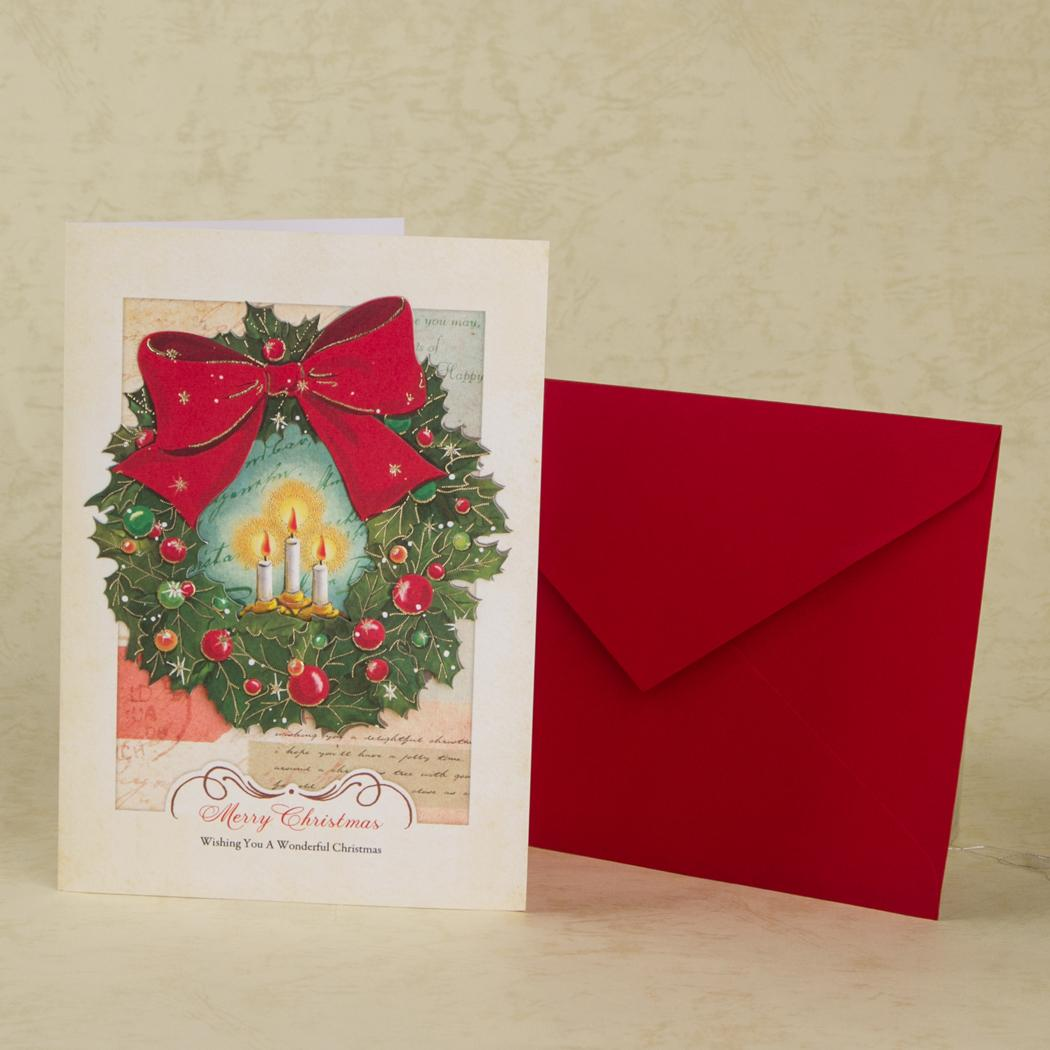 christmas gift cards laset cut christmas wreath folding new year