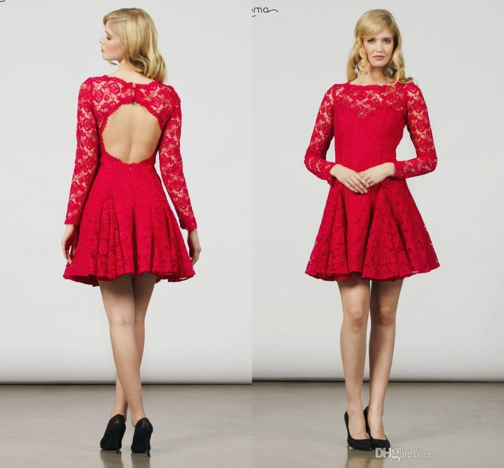 New 2017 Red Lace Long Sleeve Mini Short Prom Dresses Sexy ...