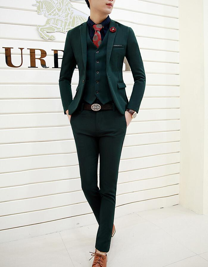 2016 Latest Style The Groom Tuxedos Dark Green Mens Party/Prom ...