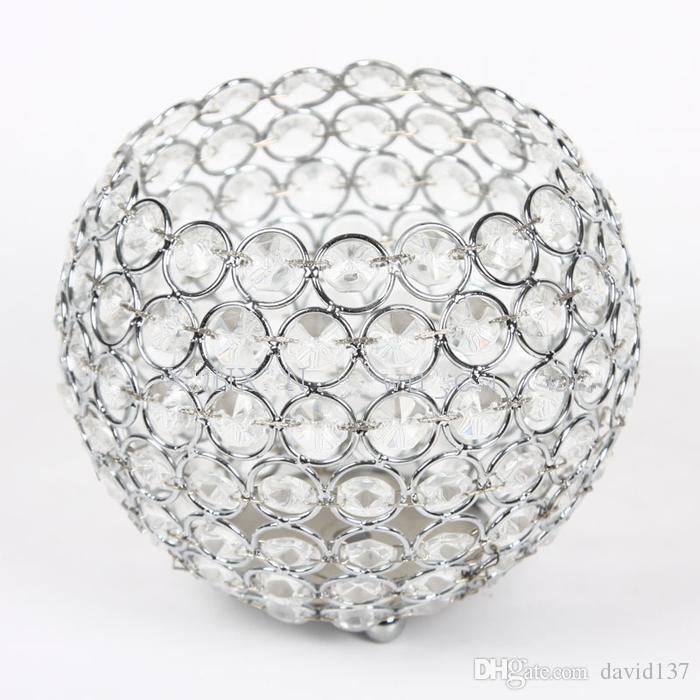 10cm büyük top çapı, düğün süslemeleri için temizle kristal mumluk