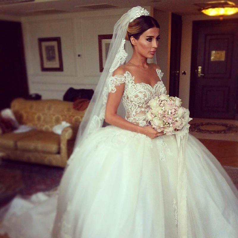 Discount New 2015 Latest Design Wedding Dresses Romantic Ball Gown