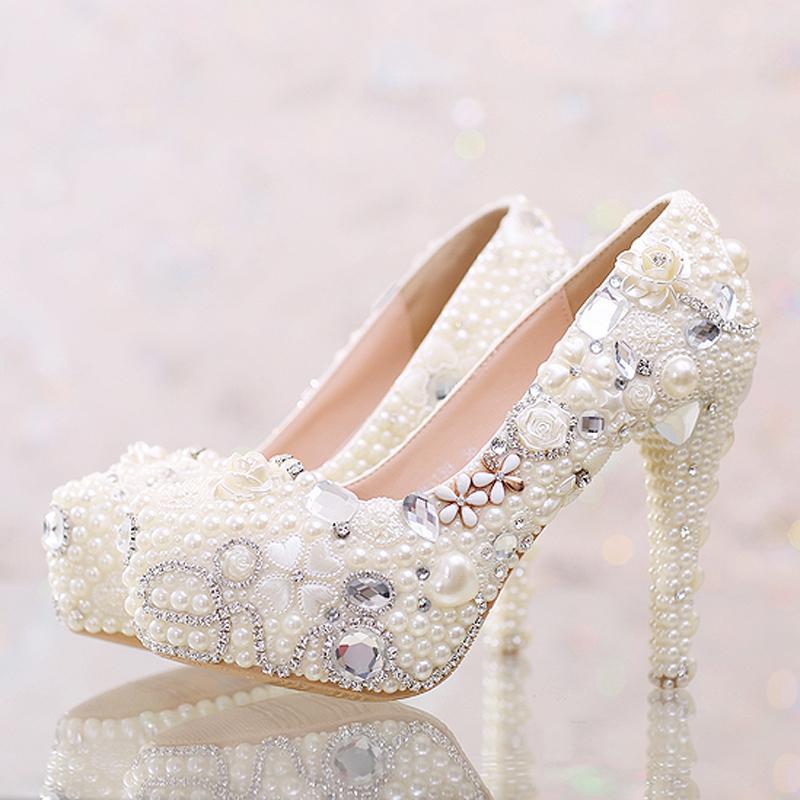 db8c40e4b2ed Pretty White Pearl Wedding Shoes True Love Rhinestone Platform ...
