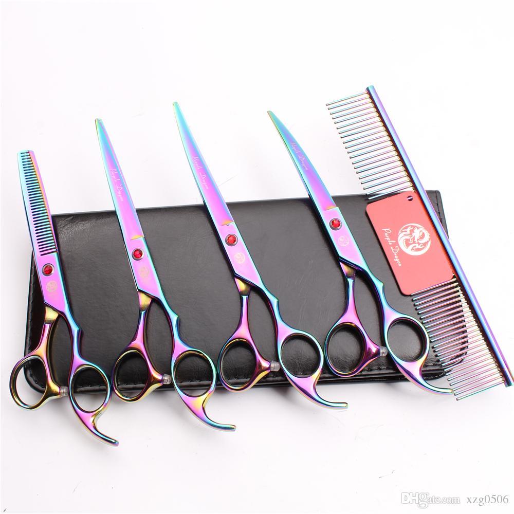 Z3003 7 '' 440C Purple Dragon Professionnel Animaux Toilettage Ciseaux Cheveux Peigne + Coupe + Amincissement + UPDown Ciseaux Courbés Chien Fourrure Tondeuse Cisailles