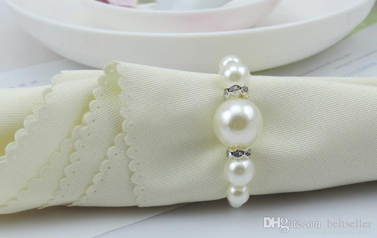 AAA Quality White Pearls Napkin Rings Hotel Wedding party Accessories Table Decorations supplies