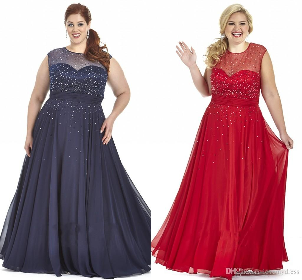 2019 Navy Blue Red Chiffon Plus Size Prom Dresses Plus Special Occasion  Dress Bling Sequins Sheer Crew Cap Sleeve Plus Size Evening Gowns Short  Prom ...
