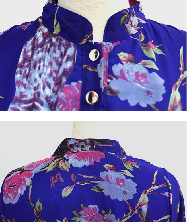 2016 Bahar Yeni Şifon Günlük Elbiseler Bayan Moda Baskı Çiçek Standı Yaka Uzun kollu Cep Maxi Elbise Artı Boyutu M-6XL