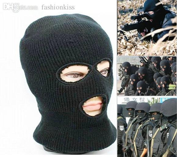 Wholesale 3 Hole Knitted Face Mask Balaclava Hat Ski Army Stocking