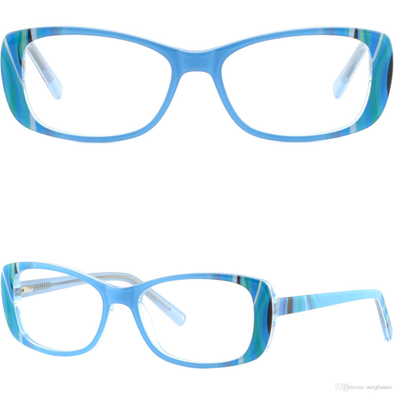 Blue Rectangle Women\'s Frames Acetate Prescription Glasses ...