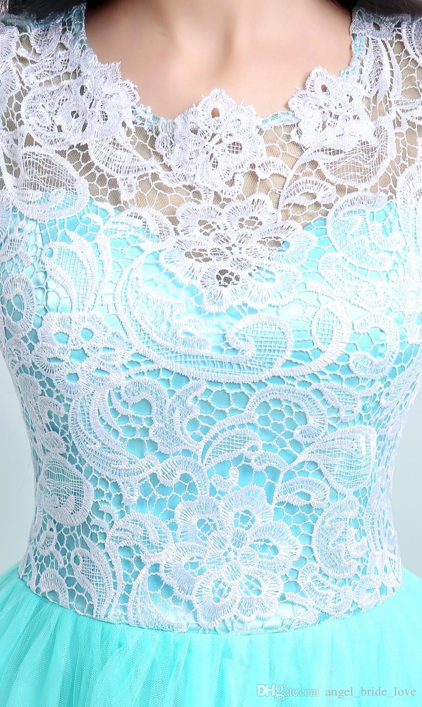 2015 Novo Estoque Elegante A Linha De Hortelã Verde Vestidos de Noite Do Laço Com Apliques de Chão-Comprimento Barato Vestidos de Festa de Formatura Vestidos De Festa