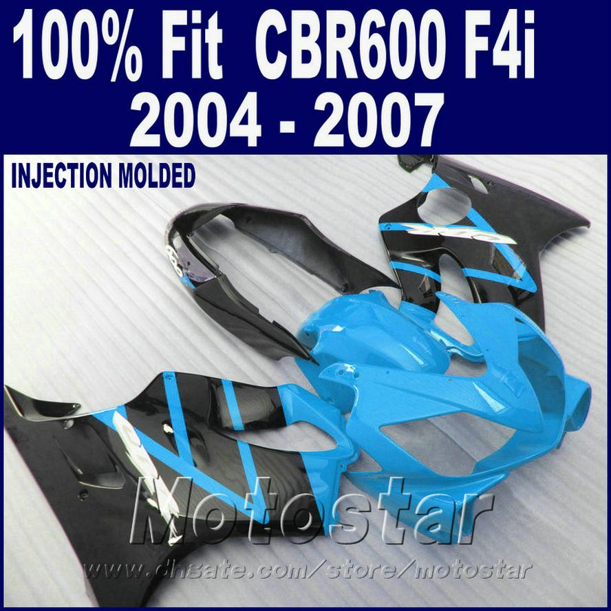 Moldeo por inyección para carenados HONDA CBR 600 F4i azul 2004 2005 2006 2007 partes del cuerpo 04 05 06 07 cbr600 f4i + 7Gifts GSDE
