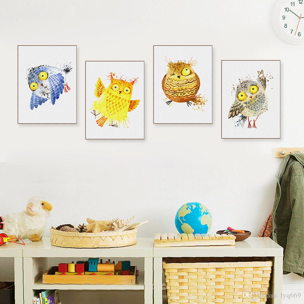 2019 Watercolor Kawaii Cartoon Birds Owl A4 Posters Nordic Baby Kids Room  Wall Art Print Picture Home Decor Canvas Paintings No Frame From Lyq669, ...